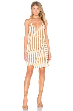 FAITHFULL THE BRAND Kara Wrap Dress in Natural Sandwash Print   REVOLVE