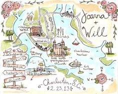 Custom Wedding MapCharleston SCHand Drawn Original by JLHArtStudio, $125.00