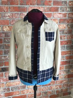 Repurposed jacket trimmed with plaid shirt. Repurposed, Vest, Plaid, Denim, How To Wear, Jackets, Shirts, Fashion, Down Jackets