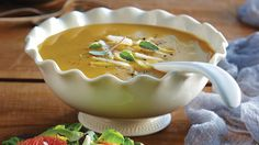 Pumpkin & Pear Soup. Velvety smooth texture with both sweet and savory notes, this soup has the richness of a creamy soup - but without the cream. You can make this soup almost entirely in advance and garnish before serving.