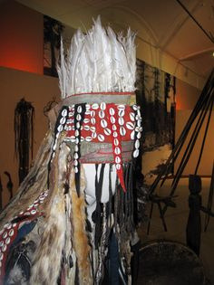 A traditional Tuvan shaman's headress, decorated with feathers and cowrie shells. Tuva, Southern Siberia