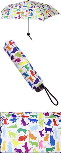 Colorful Cats Compact Umbrella at The Animal Rescue Site. Buying this funds 14 bowls of food! :D