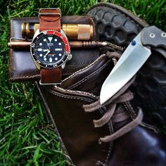 A shoe dump with plenty of color. | Saddleback Leather Co. | Bifold Wallet | 100 Year Warranty | $47 - $59 Seiko Skx, Seiko Watches, Saddleback Leather, Edc Gear, Pouch, Wallet, Survival Tools, Everyday Carry, Bushcraft