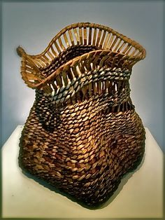 Freeform Bark and Vine Basket - Kudzu, poplar bark and copper wire