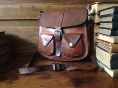 Vintage Rustic Handcrafted Saddle Bag Woody by JansVintageStuff