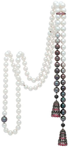 South Sea Pearl, Black Diamond & Ruby necklace by Autore