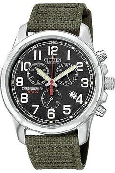 Mens Citizen Eco-Drive Military Canvas Chronograph Watch with Date usd150 AT0200-05E