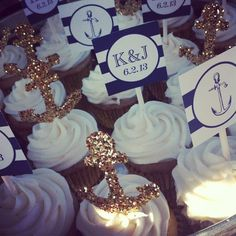 Wedding food affordable bridal shower New ideas Nautical Wedding Cupcakes, Nautical Cupcake, Nautical Bridal Showers, Nautical Wedding Theme, Nautical Party, Wedding Cakes, Nautical Bachelorette, Navy Party, Wedding Showers