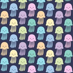 Cute colorful jellyfishes fabric by petitspixels on Spoonflower - custom fabric