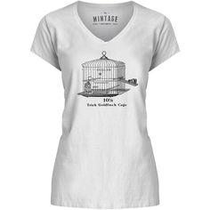 Mintage Cute Little Bird Cage Womens V-Neck T-Shirt