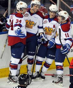Edmonton Oil Kings celebrate a goal as they play the Lethbridge Hurricanes at Rexall place in Edmonton, Alberta, Jan. 27, 2013.