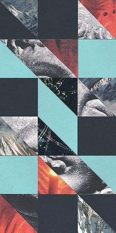 collage, geometric shapes. love the colour palette and combination of photos.