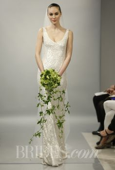 "Brides.com: Theia - Spring 2014. ""Harlow"" pearlized sequins hand embroidered V-neck sheath wedding dress, Theia"