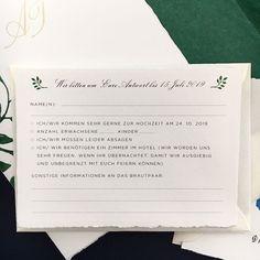 """CARTE ROYALE auf Instagram: """"Es läuft alles nach Plan mit einer Rückantwortkarte für eure Gäste. Antwortkarten passend zum Design der Einladung, gedruckt auf feinstem…"""" Planer, Personalized Items, Wedding, Instagram, Design, Wedding Response Cards, Card Wedding, Invitations, Casamento"""
