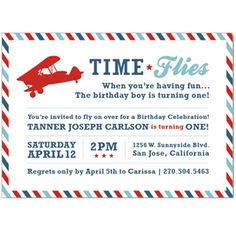 This Time Flies Personalized Birthday Party Invitation is a must have for your child's first birthday party!