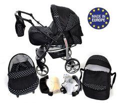 Baby Sportive - Sistema de viaje 3 en 1, silla de paseo, carrito con capazo y silla de coche, RUEDAS GIRATORIAS y accesorios, color negro, lunares  #cochecitosbebe