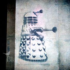 Dr Who Dalek Stencil Street Art , London. 000