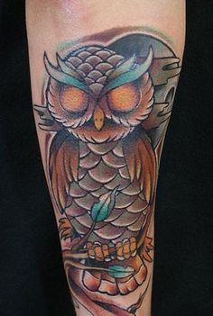 traditional owl tattoo gallery | John Dame - Owl