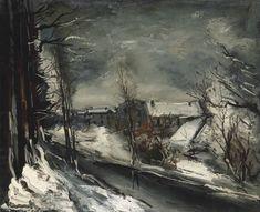 Maurice de Vlaminck (1876-1958).  Village sous la neige, oil on canvas, 23 5/8 x 28¾ in. (60 x 73 cm). http://www.christies.com/lotfinder/paintings/maurice-de-vlaminck-village-sous-la-neige-5531479-details.aspx