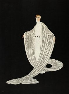 "Chic Original Vintage ERTE ART Deco Print ""PURITY"" Fashion Book Plate"
