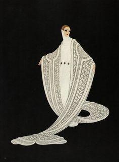 ERTE Vintage Original chic ART déco impression « pureté » mode livre plaque