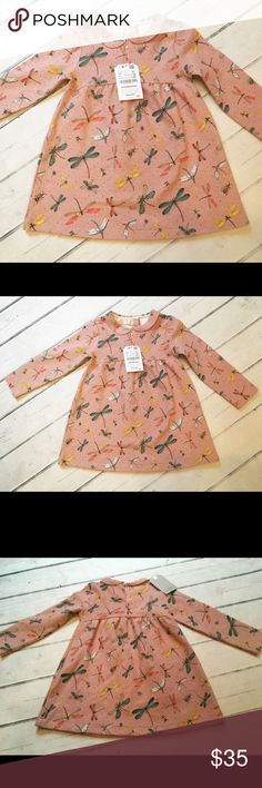 NWT Zara Rose Dragonfly Collar Dress Adorable dragonfly and bee dress from Zara. Color is a rose/ light mauve. Fabric is a cotton/polyester/spandex blend with a quilted feel. Super cute Peter Pan collar- single button at back of neck. Actual size is 2/3. Zara Dresses Casual