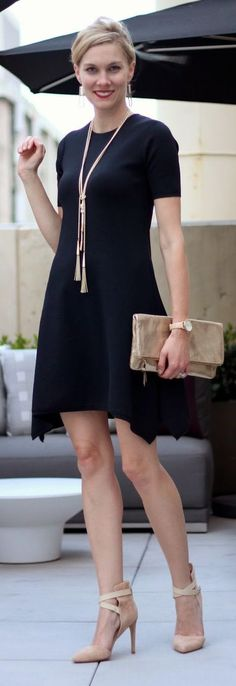 Street fashion. the little black dress works in any environment!