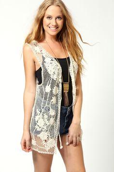 Jade Crochet Sleeveless Cardigan