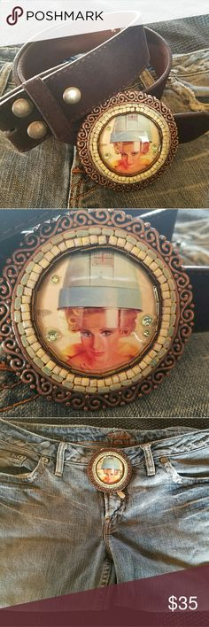 """""""Getting my hair done"""" Vintage looking picture with light green crystals. Border is white/yellow and turquoise tile. Varnish overlay for durability. Scrolled brushed bronze. Measures 3 1/4"""". Listing is for buckle only. Never worn, handmade. Sold at art shows-boutique closing. Accessories Belts"""