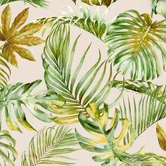 Verdure Sand | Tropical Sand  100 % Cotton  140 cm | 280cm Stuart Graham, Silver Mist, Conversational Prints, Tropical Forest, Little Monsters, Hibiscus, Sea Shells, Mists, Plant Leaves