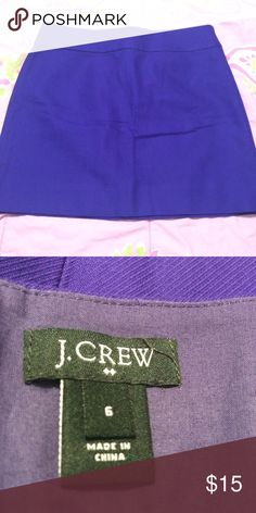J. Crew Skirt Purple- like new condition- hidden back zipper- 100% Cotton- waist measures 15 1/2 inches across the front laying flat - measures 16 inches top to bottom J. Crew Skirts