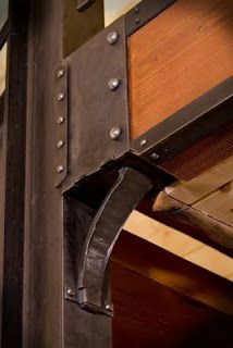 staircase with rivets | Forged Beam Bracket