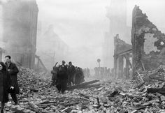 The aftermath of The Blitz on Coventry city centre in November 1940 (picture courtesy of the Coventry Telegraph). I interviewed 2 regulars from the old cathedral, who then helped in the construction of the new one, in my book Concretopia. http://amzn.to/17MNhXr