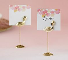 Our Kate Aspen Flamingo Place Card Holder help guests find their seats in sunny style at your tropical or beach themed bridal shower or wedding. Available in sets of the antique gold place card holders are designed to look like fun, yet regal, flami Card Table Wedding, Wedding Place Cards, Bachelor Party Gifts, Pink Wedding Theme, Wedding Goals, Tropical Bridal Showers, Wedding Places, Wedding Things, Unique Wedding Favors