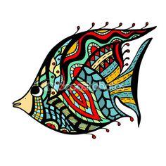 Zentangle стилизованный рыбы — стоковая иллюстрация #82914866