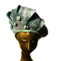 Muted Green Womans Felted Hat, Vintage Style by FeltHappiness.   #felting  #millinery  #beret