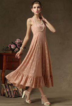 Vestido plisado encaje correa de espagueti-rosado