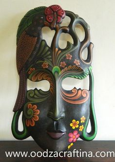 exotic painted wooden mask