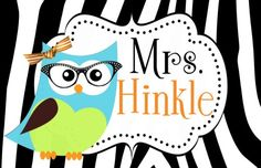 CHIC OWL TEACHER DOOR SIGN-teacher signs, owl, glasses