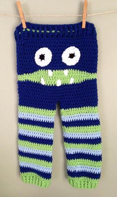 Crochet Monster Pants  Blue and Green by BranchsCreations on Etsy