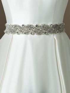 Justin Alexander accessories style A005 Taffeta bias 2 inch self tie belt with swirl beaded pattern with crystals, bugle beads and rhinestones (from 9686).