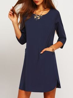 Navy Shift Dress with Half Sleeves and Pockets. Perfect spring summer dress to add to your collection! Fabric :Fabric has some stretch Season :Fall Type :Tshirt Sleeve Length :Three Quarter Length Sle