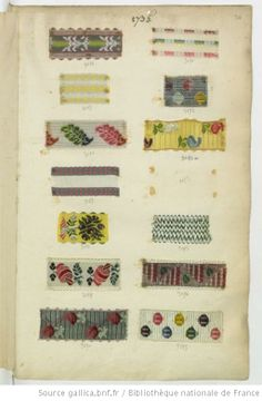 """* Echantillons de rubans 1735  le n° 3195 a du décor dit """"à l'Ecumoire"""" - Echantillons d'étoffes et de rubans recueillis par le Maréchal de Richelieu"""