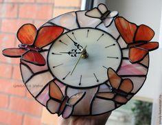 """Витражные часы """"Нежность"""" - часы необычные,авторские часы,часы настенные"""