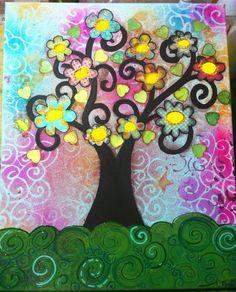 Árbol genealógico en mix media  Www.Miscuadritosdecolores.Blogspot.Com