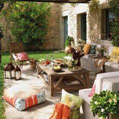 colorful fabrics and backyard ideas