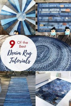 How To Make A Blue Jean Rug, 11 Unique Ways There is more than one way to upcycle and repurpose your old denim into a blue jean rug. Here I show you 9 unique ways to make an awesome indigo blue rug for your home just using your old discarded denims. Artisanats Denim, Denim Rug, Blue Denim, Blue Jeans, Denim Quilts, Denim Purse, Raw Denim, White Jeans, Rag Rug Diy