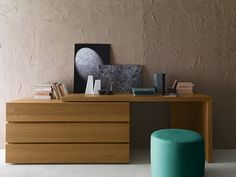 Oak writing desk with drawers Writing desk by Presotto