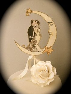 Art Deco Moon Wedding Cake Topper - Vintage Inspired - Featured in Brides Magazine - Outlined in Gold Glitter on Etsy, $28.00