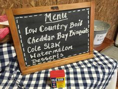 The menu for the low country boil birthday party